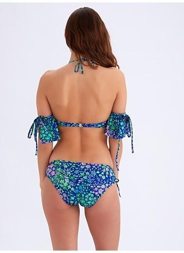 Ayyıldız Fırfırlı Straplez Bikini Takımı Saks
